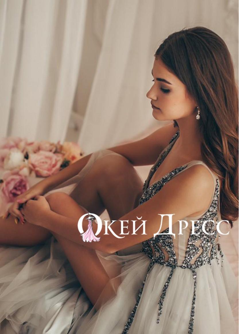 Хлоя Пайетка Серебро ❥ OkDress ❥ Прокат платьев в Краснодаре
