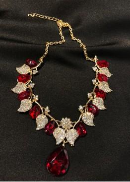 Ожерелье золото с красным